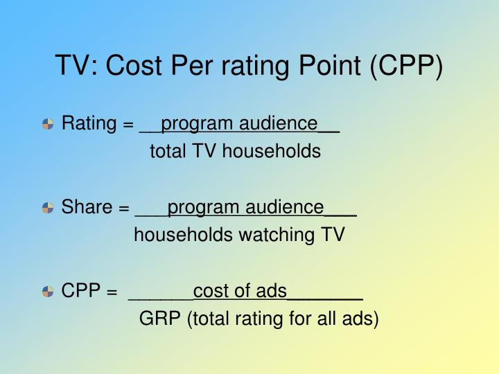 TV: Cost Per rating Point (CPP)
