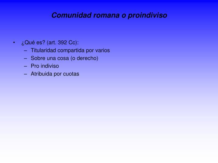 Comunidad romana o proindiviso