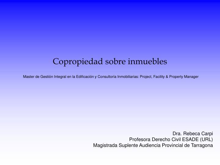 Copropiedad sobre inmuebles