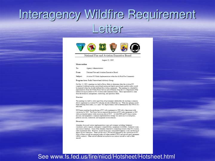 Interagency Wildfire Requirement Letter