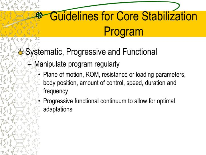 Guidelines for Core Stabilization Program