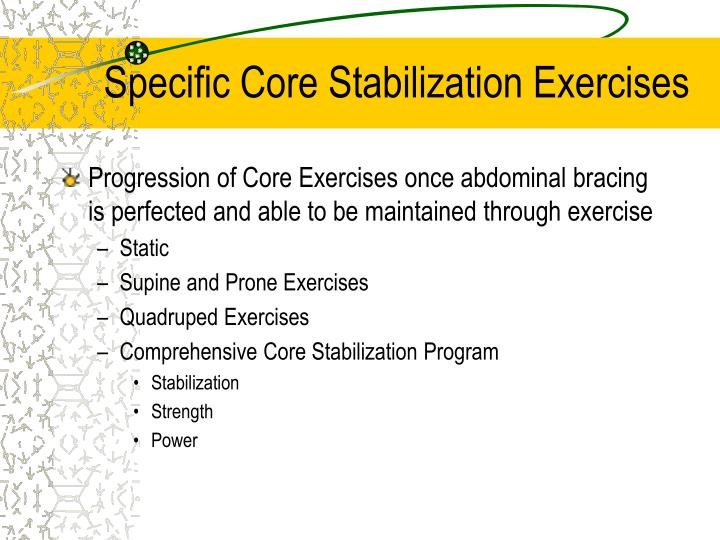 Specific Core Stabilization Exercises