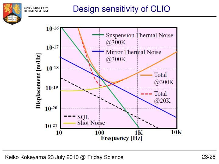 Design sensitivity of CLIO