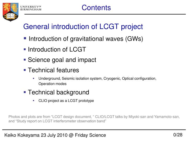 General introduction of LCGT