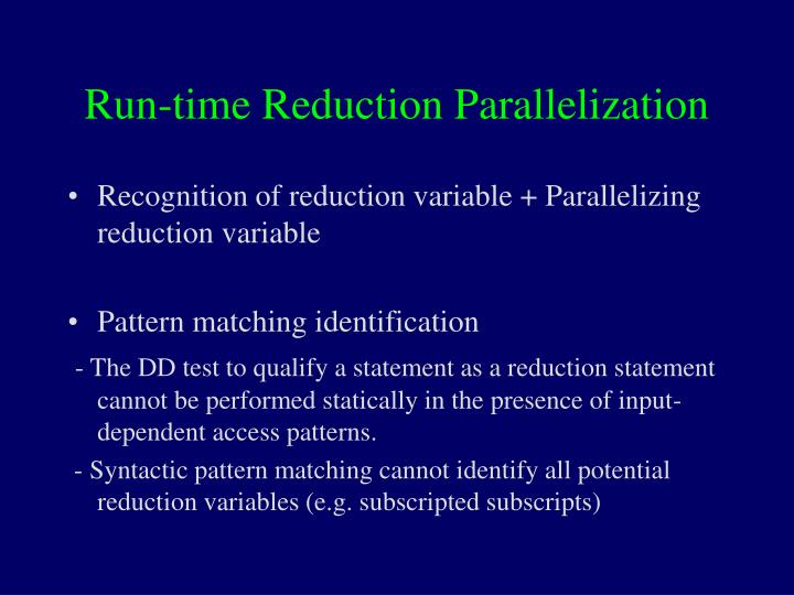 Run-time Reduction Parallelization