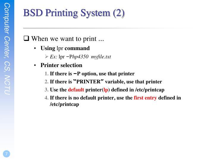 BSD Printing System (2)