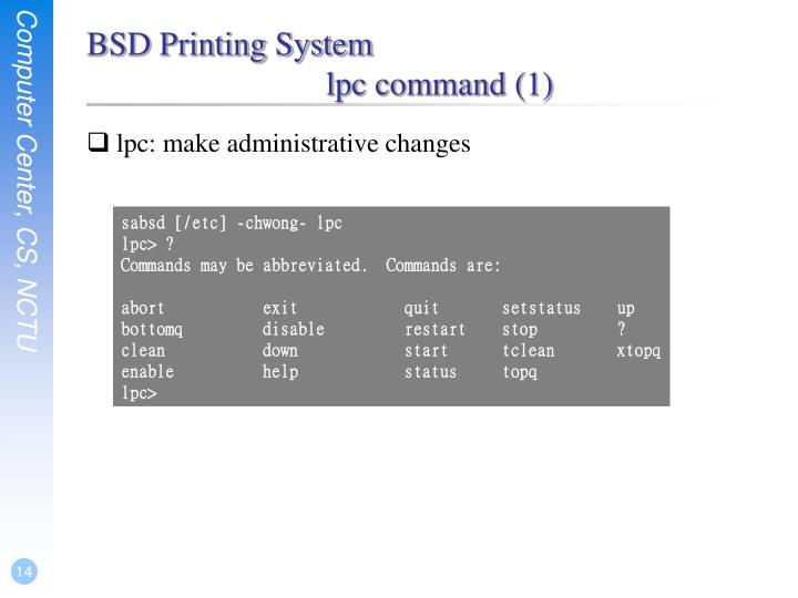 BSD Printing System