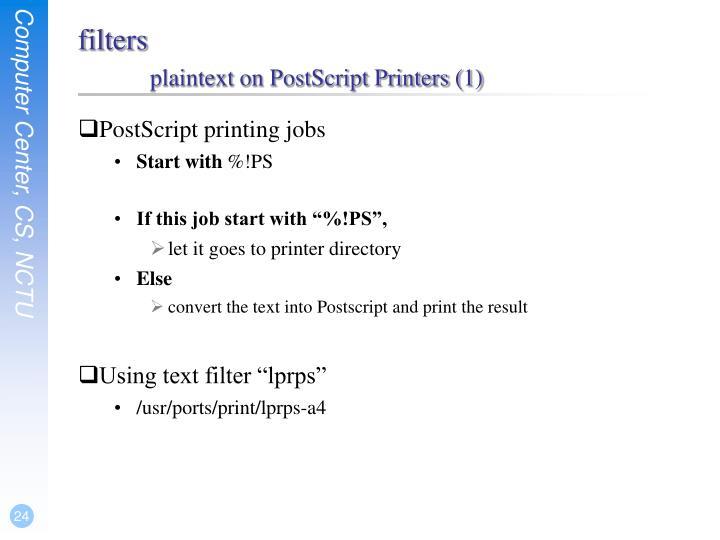 PostScript printing jobs