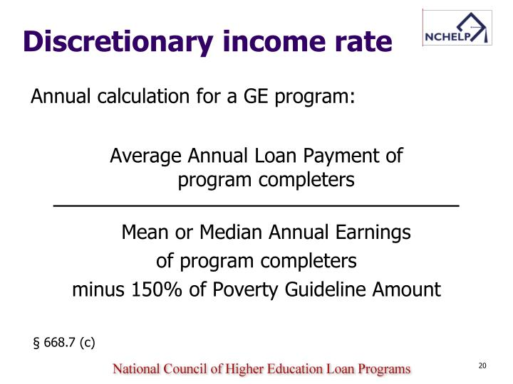 Discretionary income rate