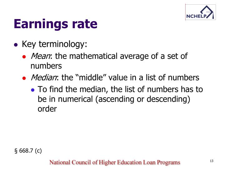 Earnings rate