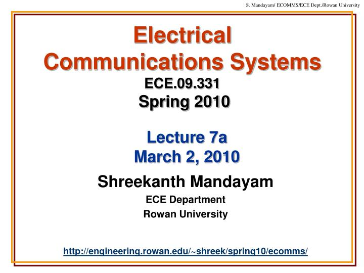 Electrical communications systems ece 09 331 spring 2010