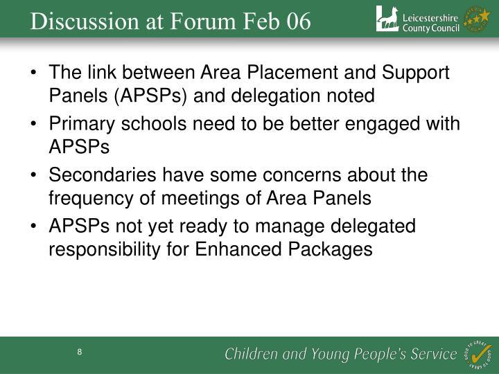 Discussion at Forum Feb 06