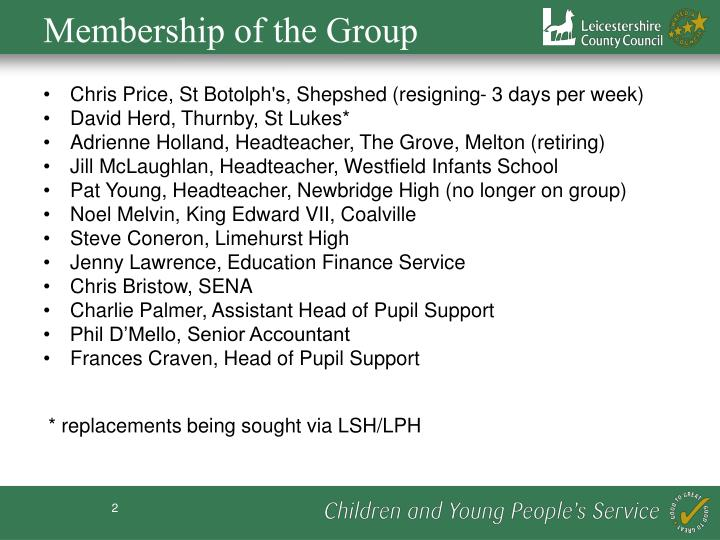 Membership of the Group