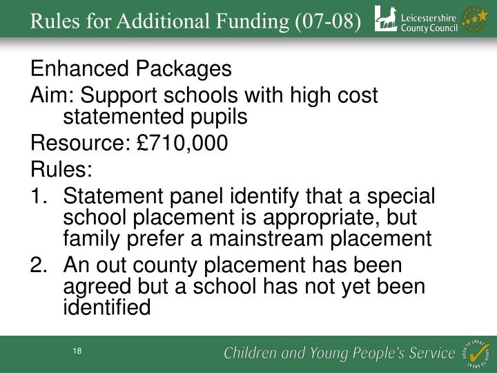 Rules for Additional Funding (07-08)
