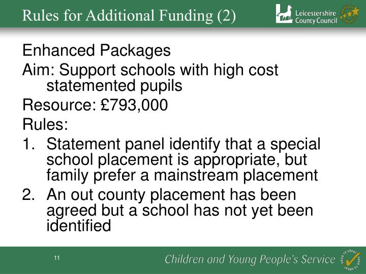 Rules for Additional Funding (2)