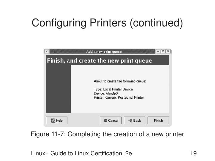 Configuring Printers (continued)
