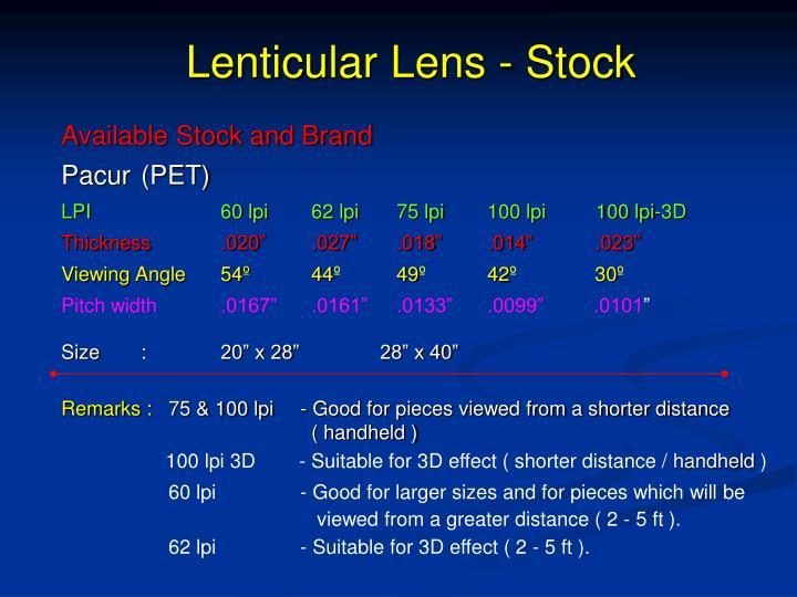 Lenticular Lens - Stock