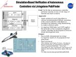 simulation based verification of autonomous controllers via livingstone pathfinder