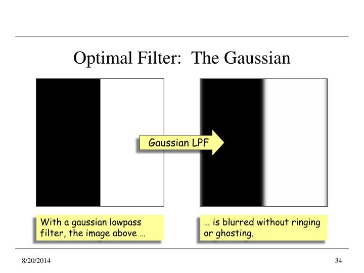 Optimal Filter:  The Gaussian
