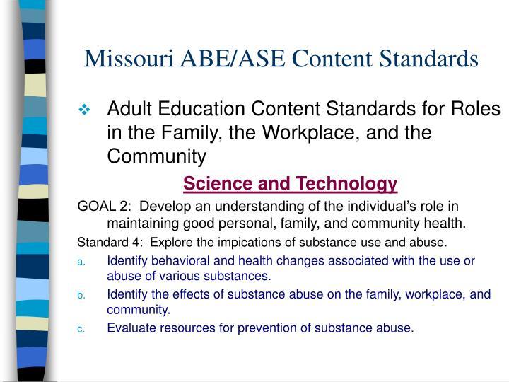 Missouri ABE/ASE Content Standards