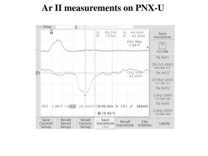 Ar II measurements on PNX-U