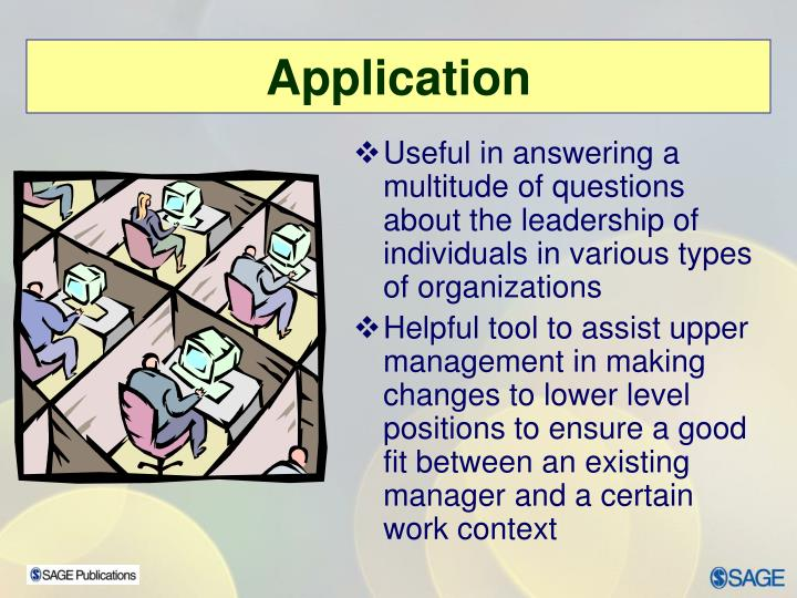 Useful in answering a multitude of questions about the leadership of individuals in various types of organizations