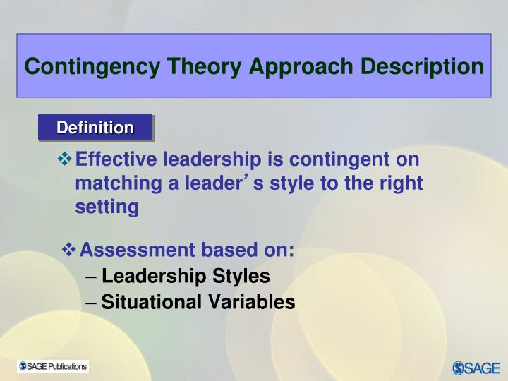 Contingency Theory Approach Description