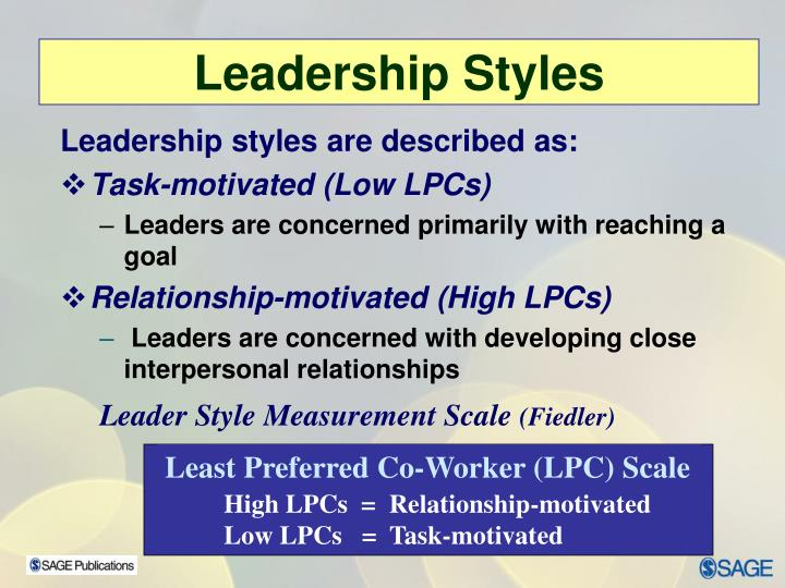 Leadership styles are described as: