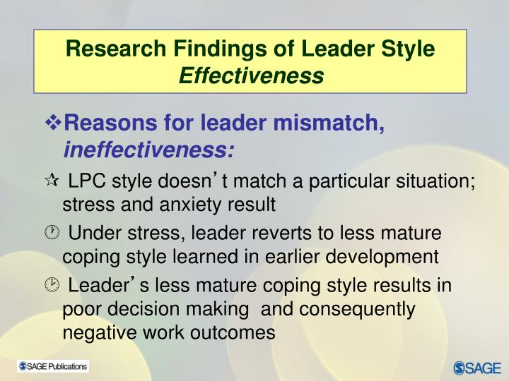 Research Findings of Leader Style
