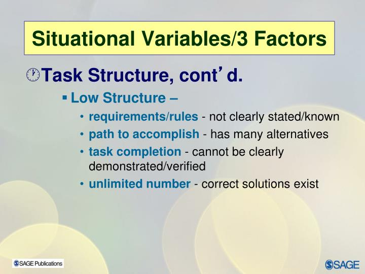 Task Structure, cont