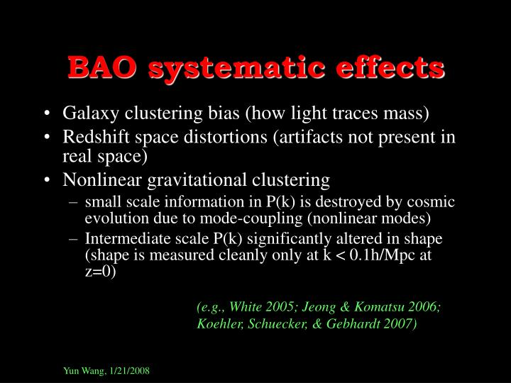 BAO systematic effects