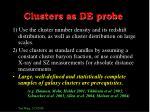 clusters as de probe