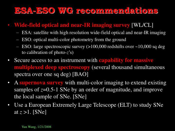 ESA-ESO WG recommendations