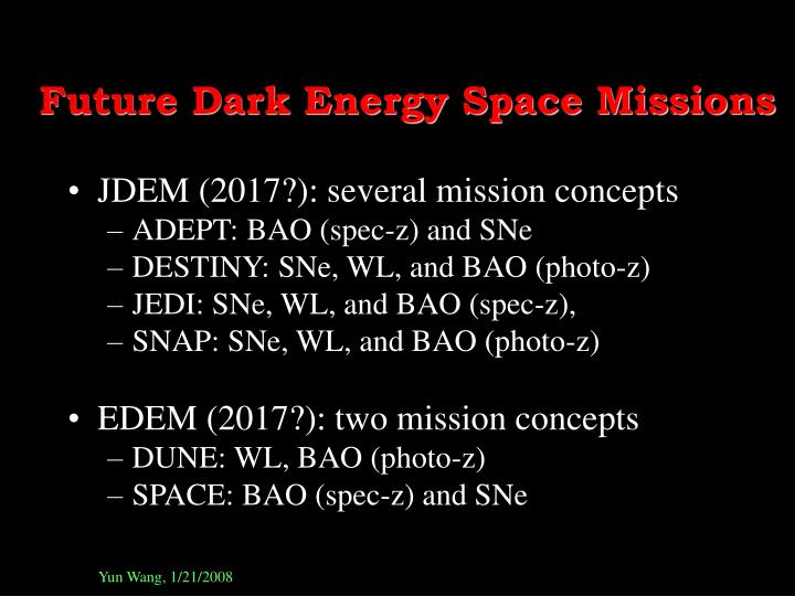 Future Dark Energy Space Missions
