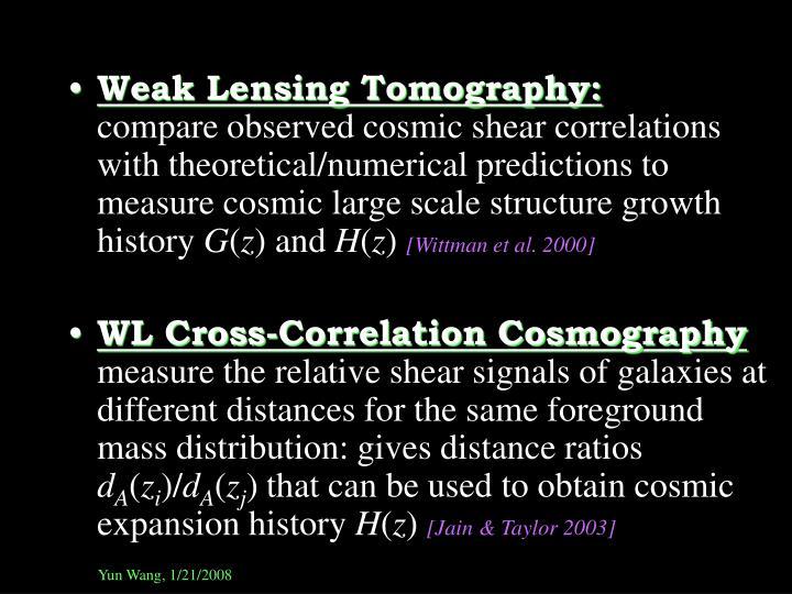 Weak Lensing Tomography: