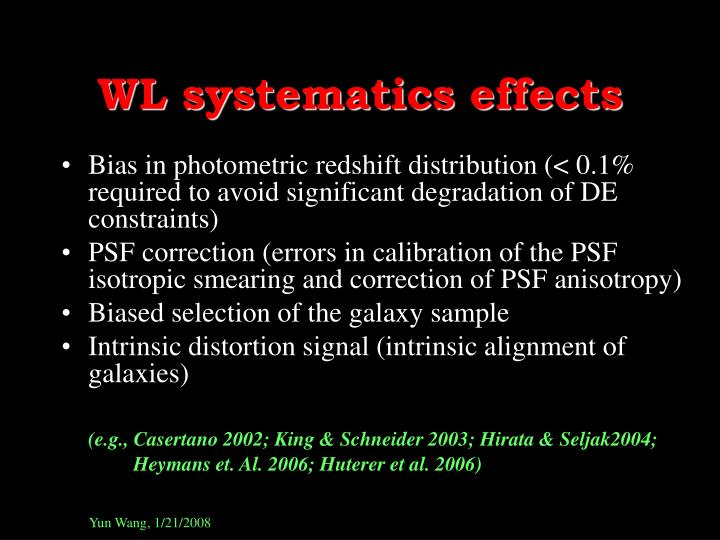 WL systematics effects
