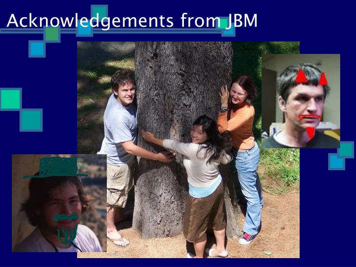 Acknowledgements from JBM