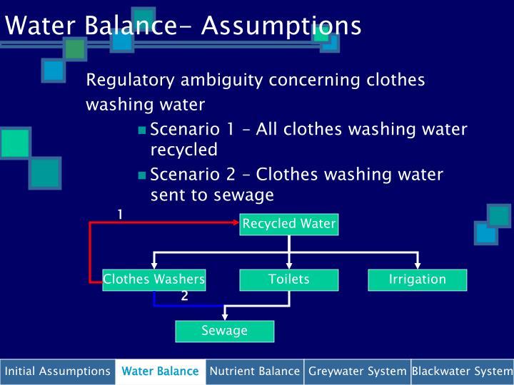 Water Balance- Assumptions