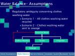 water balance assumptions