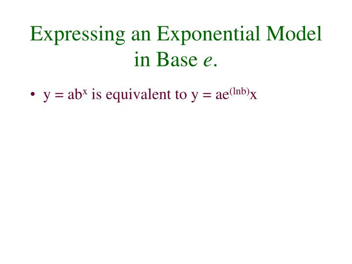 Expressing an Exponential Model in Base