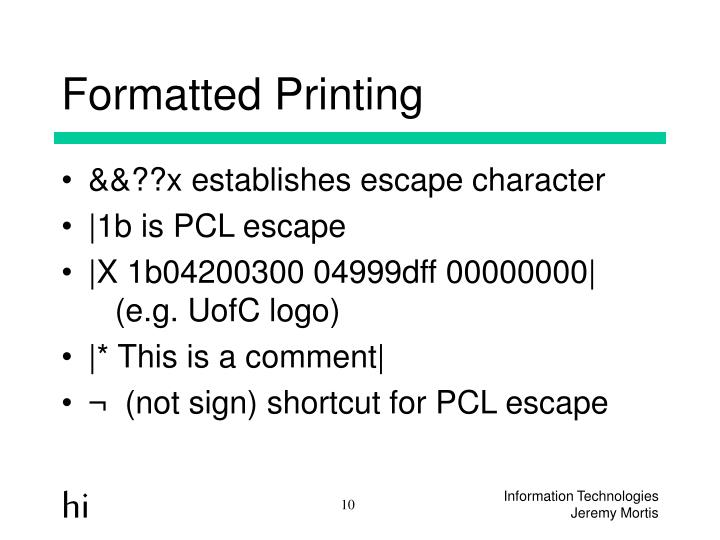Formatted Printing