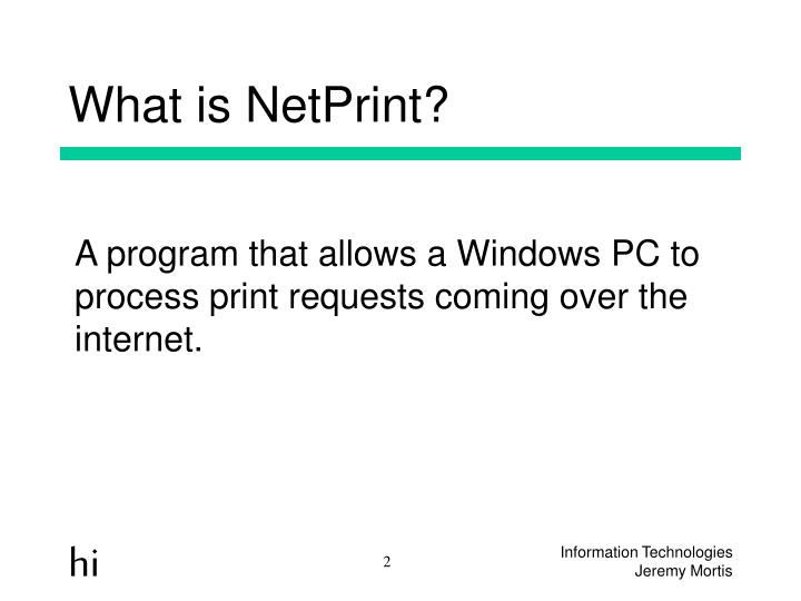 What is NetPrint?