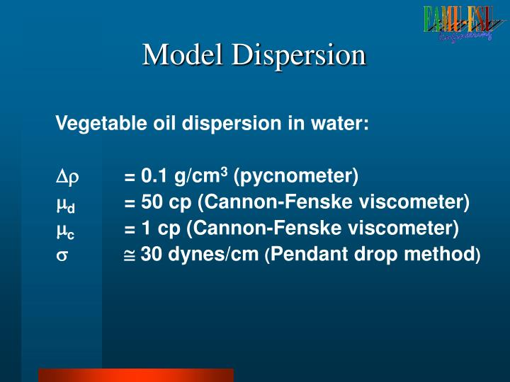 Vegetable oil dispersion in water: