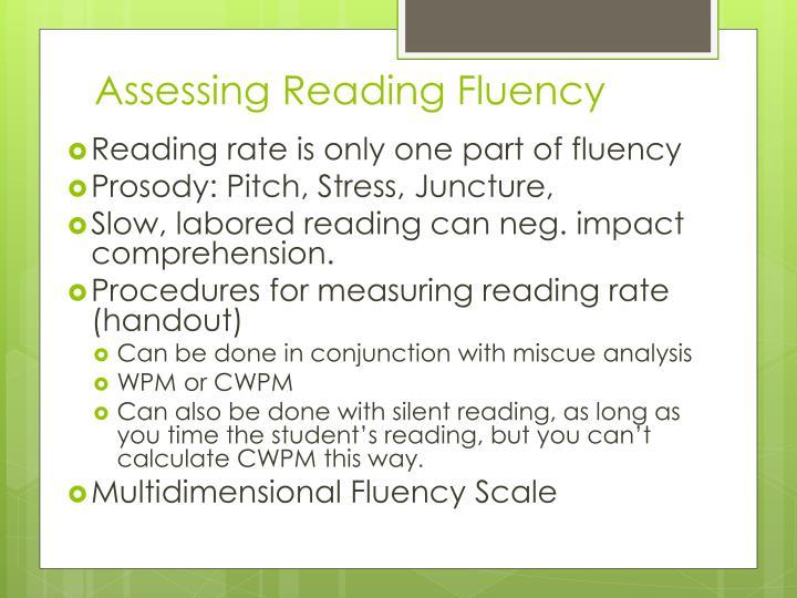 Assessing Reading Fluency