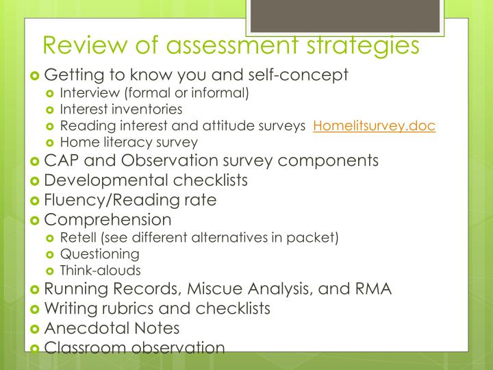Review of assessment strategies