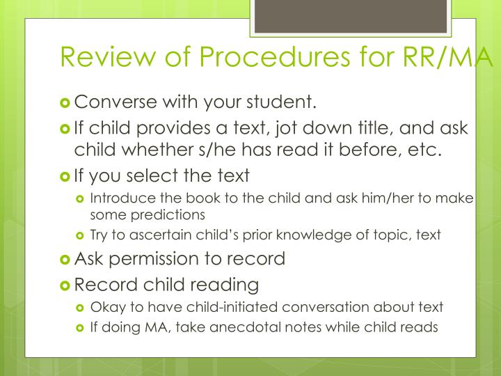 Review of Procedures for RR/MA