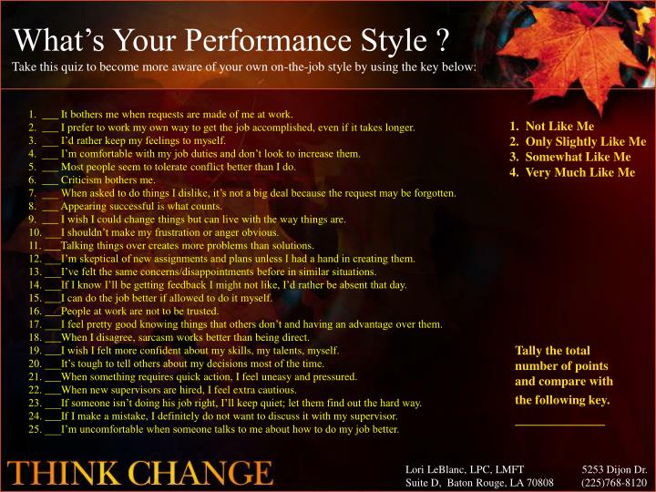 What's Your Performance Style ?