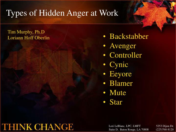 Types of Hidden Anger at Work