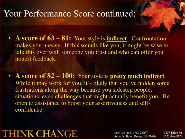 Your Performance Score continued: