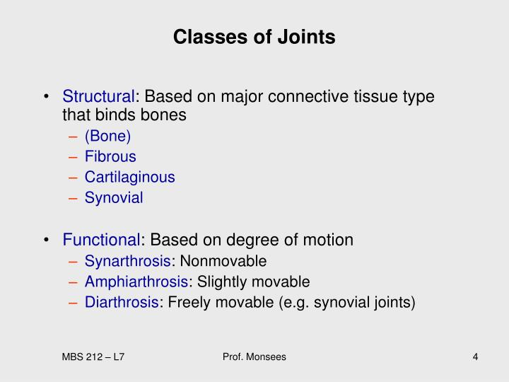 Classes of Joints